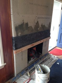 Fireplace tile going in!