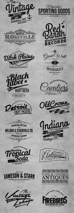 Typography  vintage retro logos and labels www.cheap-logo-de #retrolabel #retrologo #vint