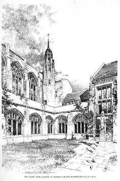 Bertram Grosvenor Goodhue, Architect (1869-1924) The Chapel, from Cloister, St Thomas College, Washington DC