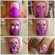 Cute owl step by step nail polish