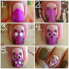 Cute owl step by step nail polish