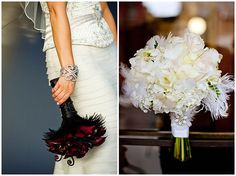 Flowers: Take a cue from the flappers and add feathers and/or brooches to your bouquet.