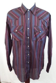 50% OFF SALE ~ Rock Creek Ranch Mens Large Red Blue Black Striped Western Pearl Snap Shirt