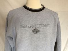 Harley-Davidson Sweater Large Gray Crewneck Powertrain Operations Mens | eBay