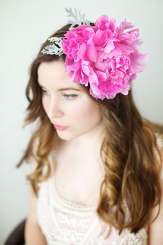 Big, fluffy, hot pink peony! (Click for the easy DIY tutorial to make your own REAL peony headband)