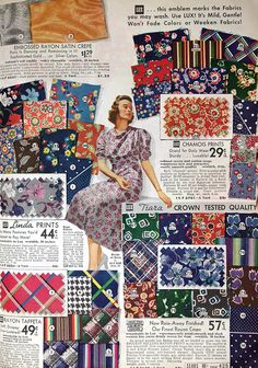 Sears Roebuck & Co. Fall Winter 1937/1938--vintage fabrics
