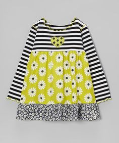 Take a look at this Green & Black Daisy Ruffle Swing Top - Toddler & Girls by Baxter & Beatrice on #zulily today!