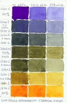 Watercolor Color Mixing Chart: French Ultramarine and Cadmium Orange Color Mixing Charts Photo Gallery This color chart was painted using the Printable Art Color Mixing Worksheet