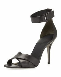 X245L Alexander Wang Drielle Leather Ankle-Wrap Sandal, Black