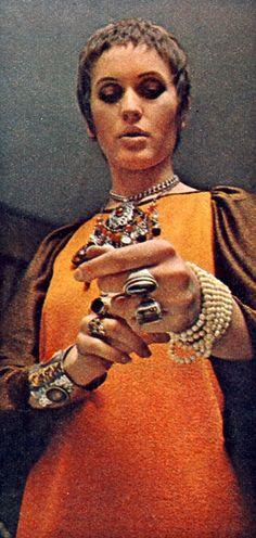 Julie Driscoll wearing stacks of jewellery. Late 1960's