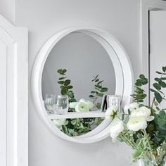 White Round Mirror with Shelf Wall Mounted Porthole Bathroom Bedroom Home Decor Silver Wall Clock, Silver Walls, Small Mirrors, Round Mirrors, Floating Wall, Floating Shelves, Wooden Shelves, Wall Shelves, Shelving