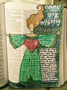 'seek his wisdom' Scripture and bibles art journaling