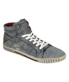 Gray Stitched Leather Dylan Sneaker