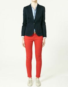 The cropped, red, skinny jeans and the navy blazer.