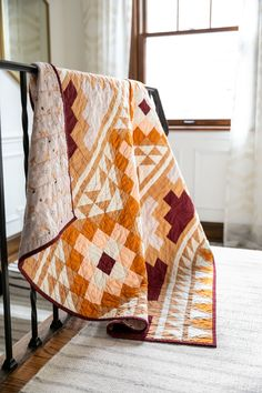 Be inspired by colors of the desert and make your own Mayan Mosaic quilt. With warm solid hues, this quilt design looks modern and timeless. Triangle Quilt Pattern, Patchwork Quilt Patterns, Modern Quilt Patterns, Patchwork Blanket, Southwest Quilts, Modern Quilting Designs, Do It Yourself Inspiration, American Quilt, Textiles
