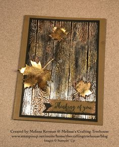 Melissa Kerman's Impressions of Tarnished Foil Technique featuring the Pinewood Planks Embossing Folder and Colorful Seasons Bundle.