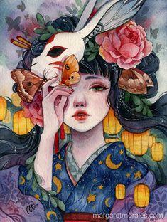 Margaret Morales is a visual designer, painter and watercolor artist from Philippines. Inspiration Art, Art Inspo, Portrait Inspiration, Pretty Art, Cute Art, Manga Art, Anime Art, Art Buddha, Art Sketches