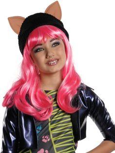 Peluca Howleen Monster High™ niña: Esta peluca de Howleen Wolf para niña tiene licencia oficial Monster High™. Es de cabello largo en color rosa.Lleva cosida una gorra negra con orejas. Tal cual como el personaje, la...