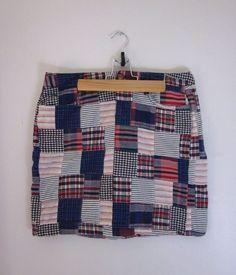 Tommy Hilfiger Patchwork Madras Mini Skirt 100% Cotton size 4 #TommyHilfiger #Mini