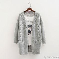 Leisure Loose Warm Cardigan Double Pockets Long Knitted Sweater Coat only $28.99 in ByGoods.com!