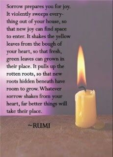 Sorrow prepares you for joy. It violently sweeps everything out of your house, so new joy can find space to enter. Rumi