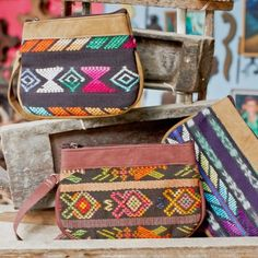 Handmade Recycled Zunil Wristlet/Clutch with leather detailing ** Fair Trade ** Altiplano