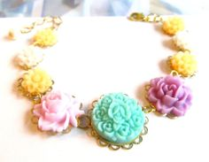 Isabel colorful Flower Bracelet  bridal gift by 4TasteofShabbyChic, $52.00
