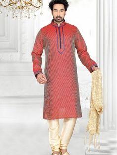 Savory Sheded Rust Art Silk Wedding Wear Kurta Pajama