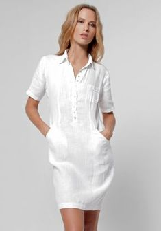 100% Linen Collared Golf Dress With Hidden Pockets in White | Shop | Claudio Basic