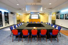 Jaguar Suite - Boardroom style - 540sqm of meeting and banqueting space, split over two rooms. Up to 200 delegates can be accommodated in the state-of-the-art suites which feature in-built plasma screens and AV equipment.