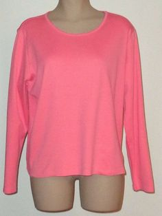 New LL BEAN Pima Cotton Jewelneck Tee Long Sleeves - Coral Pink Size XL #LLBean #Tee #Casual