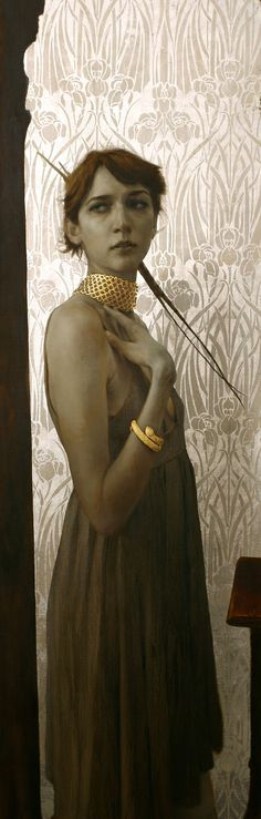 The Gold Choker, 64 x 21 inches, Oil and gold and silver on linen, Private collection