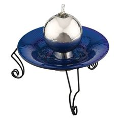 Enjoy the tranquility and beauty brought by the Regal Art and Gift Gazing Ball Tabletop Fountain . Featuring hand-crafted glass ball from which water. Tabletop Water Fountain, Indoor Water Fountains, Garden Fountains, Glass Garden, Garden Art, Glass Ball, Crystal Ball, Lawn And Garden, Outdoor Gardens