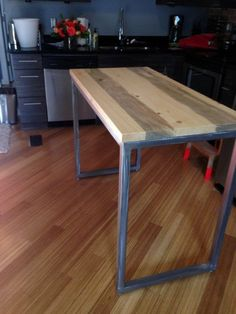 Counter height table on casters