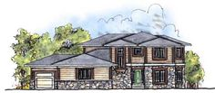 Prairie Style House Plans - 2782 Square Foot Home , 2 Story, 4 Bedroom and 3 Bath, 3 Garage Stalls by Monster House Plans - Plan 7-685