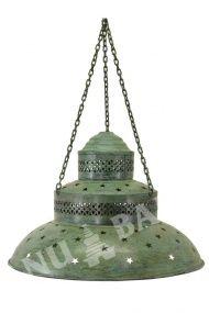 Kovová lampa v orientálním stylu, zelená antik patina, průměr 50cm   SANU BABU