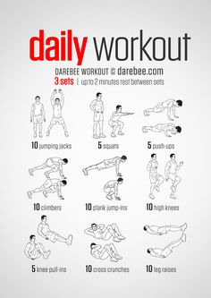 A simple no-equipment workout for every day: nine exercises,.- A simple no-equipment workout for every day: nine exercises, ten reps per set. V… A simple no-equipment workout for every day: nine exercises, ten reps per set. Visual guide: print & use. Fitness Workouts, Weekly Gym Workouts, Easy Daily Workouts, Gym Workout Tips, At Home Workout Plan, Workout Challenge, No Equipment Workout, At Home Workouts, Workout Exercises