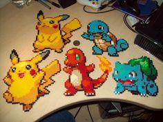 Pikachu, Charmander, Bulbasaur, Squirtle Pokemon Perler art sprites