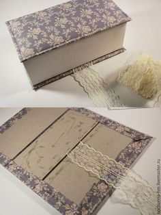 Gift Box sveta_arhipova: MK Shkatulochka cardboard with two Diy Gift Box, Diy Box, Diy Gifts, Fabric Covered Boxes, Fabric Boxes, Cardboard Box Crafts, Altered Boxes, Diy Arts And Crafts, Diy Storage