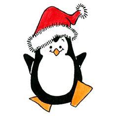 Christmas Penguin Rubber Stamp - Sku: D454