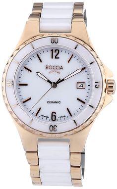 Boccia Damen-Armbanduhr Analog Quarz Keramik 3215-03 Rolex Watches, Fossil, Crystals, Accessories, Image, Clock, Women, Round Glass, Gold Paint