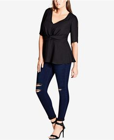 9f407af09837df City Chic Trendy Plus Size Twist-Front Split-Sleeve Top   Reviews - Tops - Plus  Sizes - Macy s