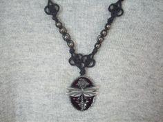 Necklace Dragonfly Pendant Beaded Macrame Handmade New  By @LuvSig on Bonanza