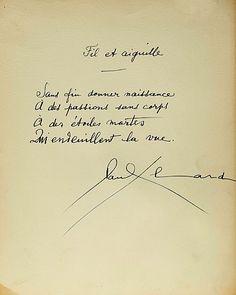 """Paul Eluard - Les mains libres (1948):  """"Sans fin donner naissance   à des passions sans corps  à des étoiles mortes  Qui m'endeuillent la vue"""""""