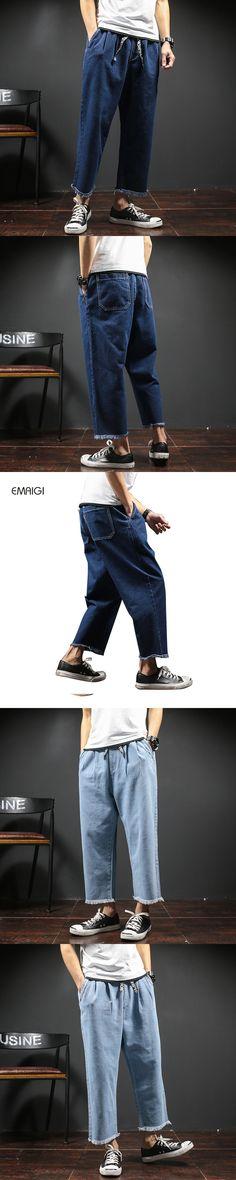 Men Fashion Loose Jeans Street Hiphop Wide Leg Denim Harem Jeans Male Jean Trousers Size 29-42