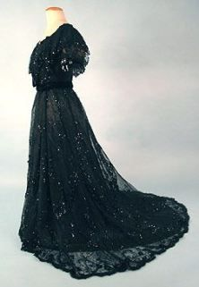 Black Sequined Ball Gown c.1890
