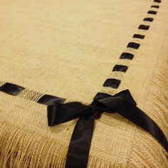 Burlap Tablecloth with Fringe and Ribbon by cherrycheckers on Etsy, $100.00
