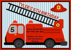 Fireman Birthday Party Invitation for kids by TBoneSquid on Etsy