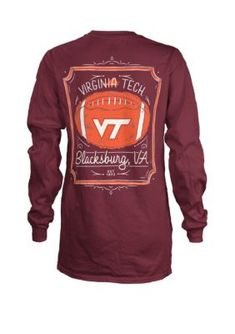 Royce Women Virginia Tech Hokies Long Sleeve Framed Football T Shirt - Maroon - Xl Virginia Tech Football, Virginia Tech Hokies, Mississippi State Bulldogs, Team Apparel, Royce, Purses, Long Sleeve, Sports, Sleeves