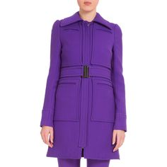 Victoria Victoria Beckham Wide-Collar Belted Coat (5.415 RON) ❤ liked on Polyvore featuring outerwear, coats, iris, woolen coat, long sleeve coat, belt coat, wool coat with belt and belted coat